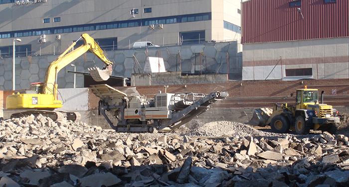 Reciclaje de residuos de demolición y construcción en obra